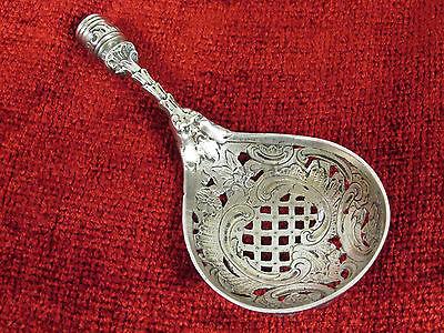 Antique 800 Silver Spoon Tea Strainer Sugar Sifter Cherub Angel Marked