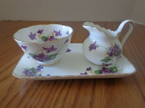 Royal Chelsea English Bone China Creamer And Sugar Trio Set