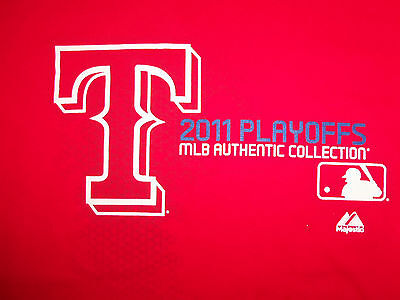 Mlb Authentic Collection Texas Rangers Baseball 2011 Playoffs Red T Shirt   M