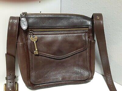 Vintage Unisex FOSSIL 1954 Pebbled Leather Crossbody Organizer Purse Key EUC
