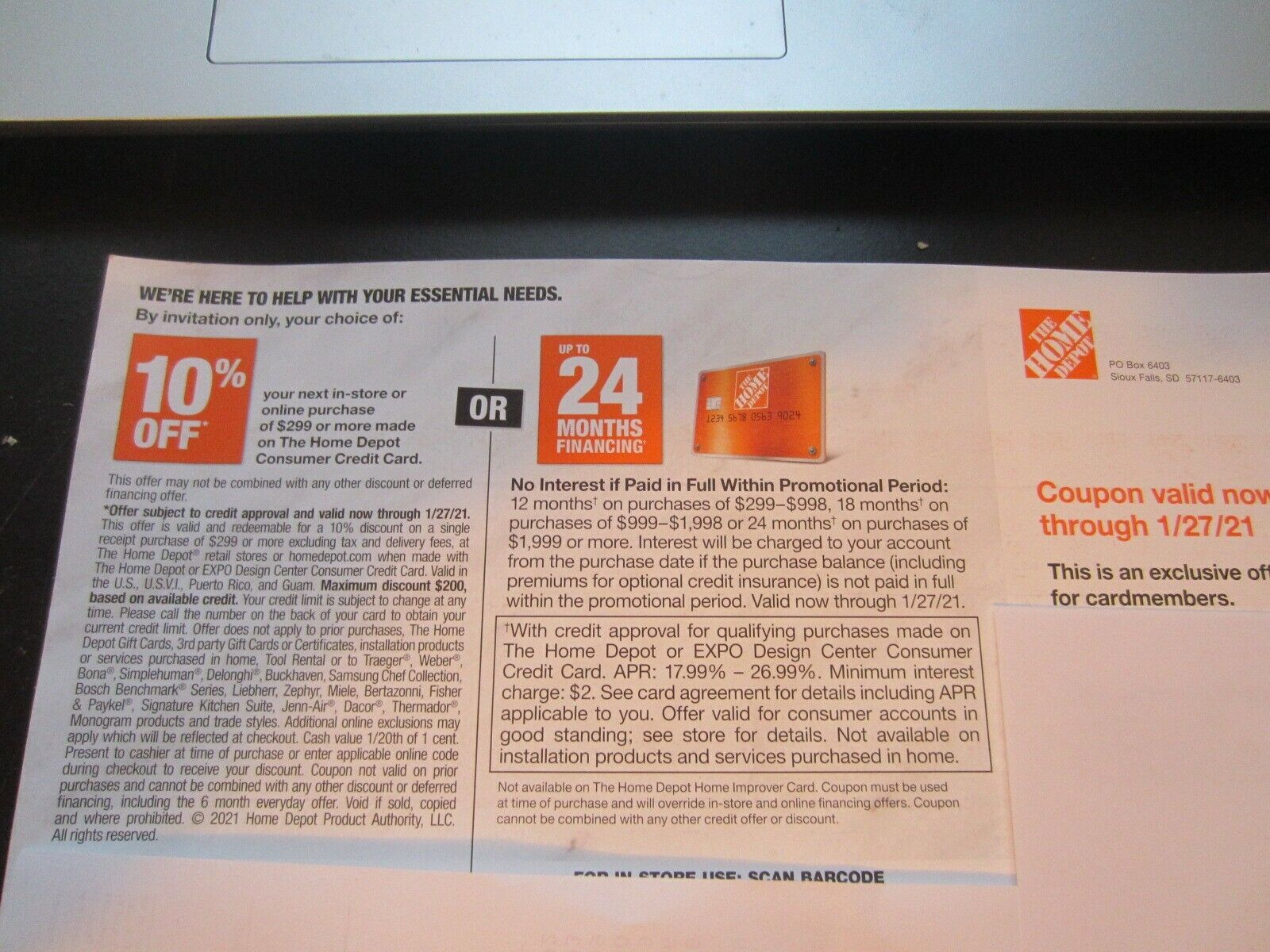 Home Depot 10 Off In-store/online Or 24 Months Financing EXP 1/27/21 Coupons - $16.00