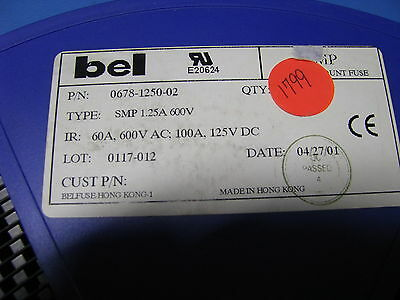 Bel Fuse 1 25A 600V Telecom Smp Part   0678 1250 02  1700 Pc Partial Reel