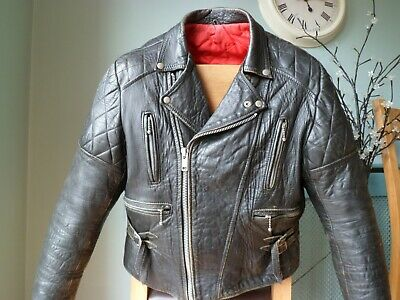VINTAGE LEATHER BIKER JACKET-SIZE MEDIUM-DISTRESSED-RED LINING-DIAMOND PADDED