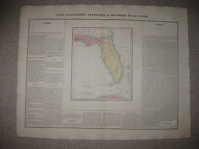 HUGE IMPORTANT ANTIQUE 1825 EAST WEST FLORIDA TERRITORY CAREY & LEA HANDCOLR MAP