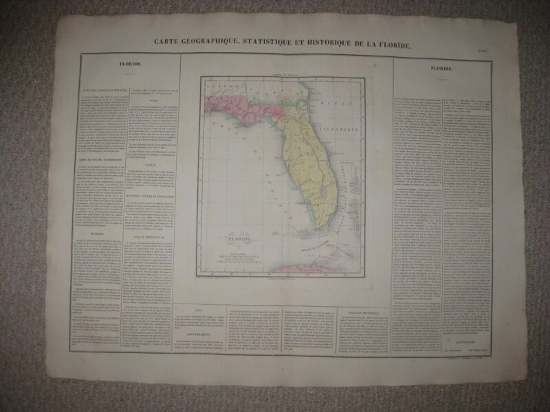 HUGE IMPORTANT ANTIQUE 1825 EAST WEST FLORIDA TERRITORY CAREY & LEA HANDCOLR MAP