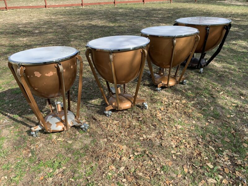 "Set of 4 LUDWIG TIMPANI Fiberglass DRUMS w/ Stands & Foot 24"" 27.5"" 30"" 34.5"""