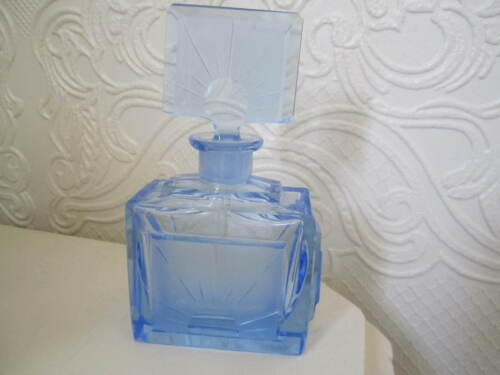 Vintage Antique Signed Czechoslovakia Perfume Bottle - Rich  Blue - Acid Marked
