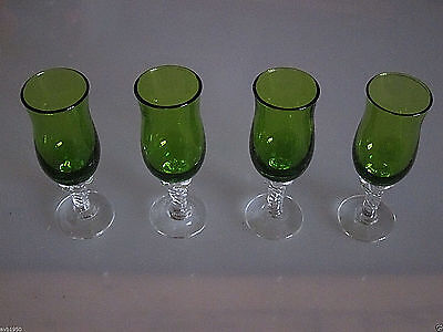 Vintage Hand Blown Green Cordials With Twisted Clear Stem & Base Excellent