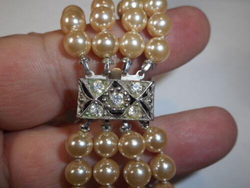 "Art Deco Rhinestone 4 Strand Old Japan Glass Faux Pearl 7"" BRACELET 1930s label"