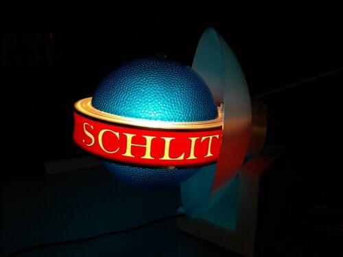 Schlitz Beer Lighted Glitter Globe Spinning Band Motion Backbar Wall Sign.