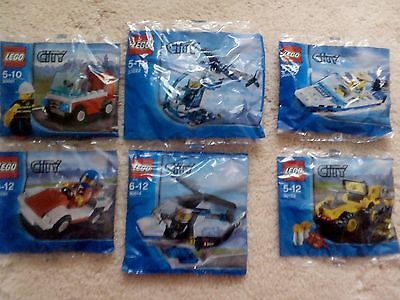 LEGO CITY BAGS X 6 NEW & SEALED..30001, 30150, 30222, 30014, 30017 +30152