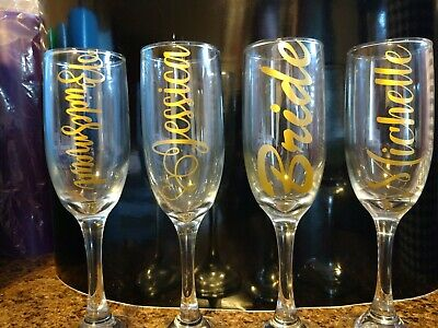 DIY Personalized Wedding Bridesmaid Bridal Party wine glass flute vinyl decal (Diy Flute)