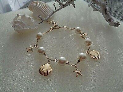 Gold Armband, Bettelarmband mit  Perlen und Ozean-Charms,sehr edel! ()