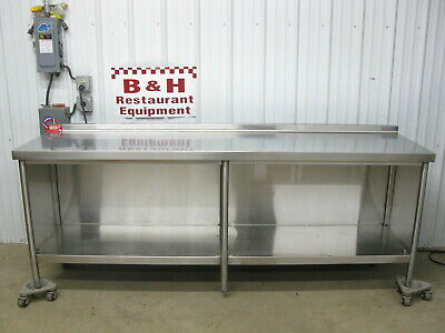 96 X 26 Stainless Steel Heavy Duty Kitchen Cabinet Work Prep Table 8 X 2 2