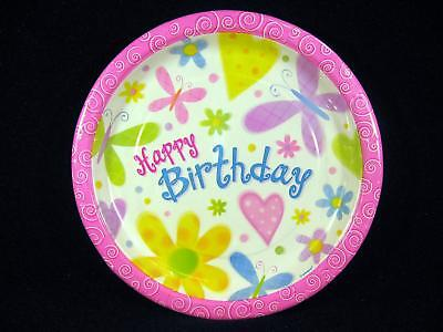 12 Large PLATES Butterflies Hearts Flowers Happy Birthday Supplies Cutsie Girl