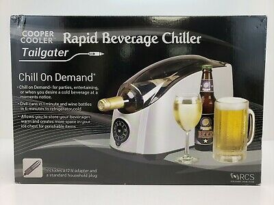 Cooper Cooler Tailgater Rapid Beverage Chiller Chill on Demand HC01 Silver/Black