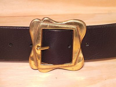 Heavy Brass 2 Inch Leather Belt Waist Size Measure Mens Ladies Black Brown Tan