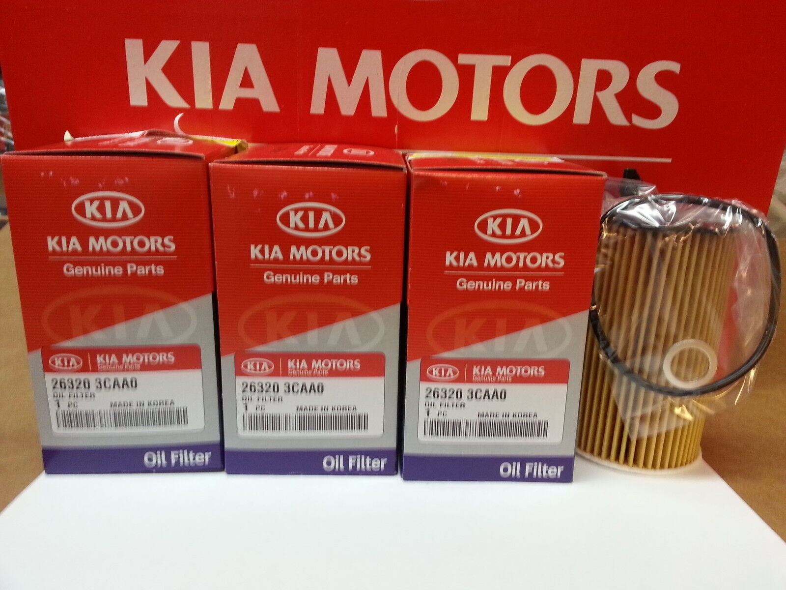 genuine kia sorento 4 pack of oil filters oem 26320 3caa0. Black Bedroom Furniture Sets. Home Design Ideas