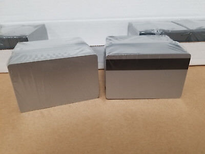 Silver Pvc 3 Track Hico Mag Cards Cr80 .30 Mil Magnetic Stripe - Pack Of 100