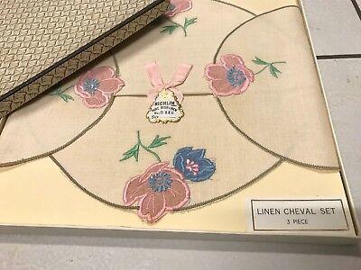 Vintage Boxed Embroidered Irish Cream Linen 3 Piece Cheval Set Doilies Unused