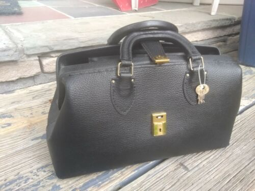Vintage Schell Black Leather Doctor House Call Bag Unused With Keys