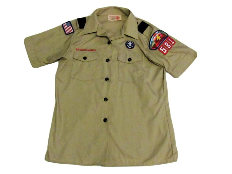 Boy Scouts BSA Official Uniform Tan Youth Short Sleeve Shirt Patches M 10-12