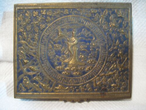 Antique Detailed Repousse Relief Brass Enameled Box (Kuan Yin?) figure China