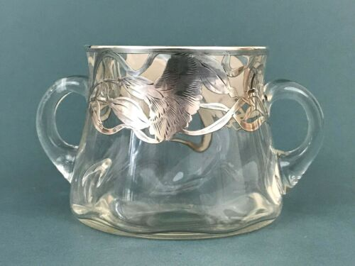 ATQ Sterling Silver Overlay Hand Blown Bubble Glass Carnation Floral Sugar Bowl