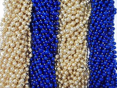 48 Blue Gold Mardi Gras Beads Rams Tailgate Football Superbowl Party Favors](Superbowl Party Favors)