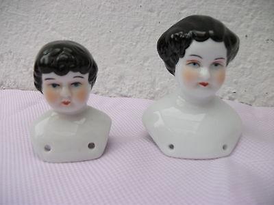 Puppenkopf Pärchen weißes Porzellan   Biedermeier 2 verschiedene Größen