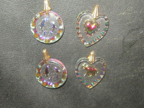 WHOLESALE LOT OF 4 Austrian Etched Crystal Dolphin Elephant  Heart Pendants