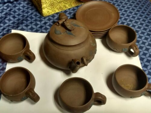 Vintage Ornate Chinese Terracotta Tea Set 11 piece set with box