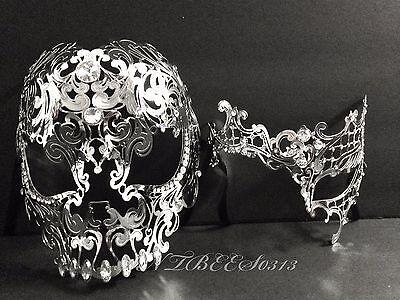 Halloween Bright Silver Metal Skull & Phantom Costume Night Party Masks](Halloween Metal Party)