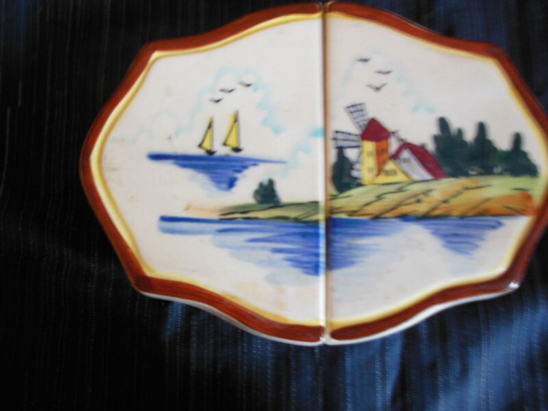 "Trivet,Fred Rogers Co.,Windmill & Dutch House ,Ceramic- Expandible(to 10"")1950's"