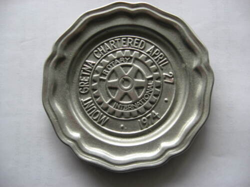 Vintage Rotary International Mt Gretna 1974 pewter plaque by Wilton Columbia Pa