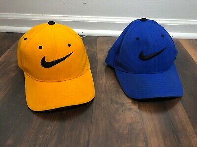 Nike hats-lot of 2-blue and yellow--hook and fastener on back