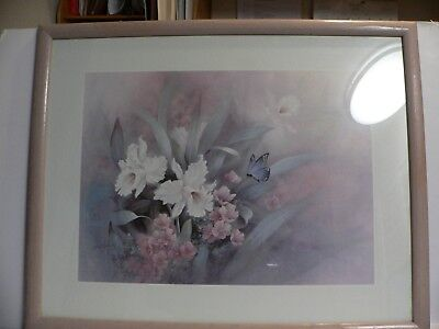 "T.C Chiu Signed and Framed Print Butterfly with Lilies""16""X 20"" Pict. 24""X30"" FS for sale  Chowchilla"