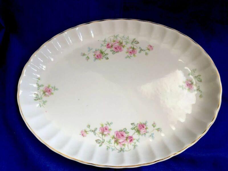 W S George Bolero Floral Bouquet Rose Oval Plate Serving Platter Vintage