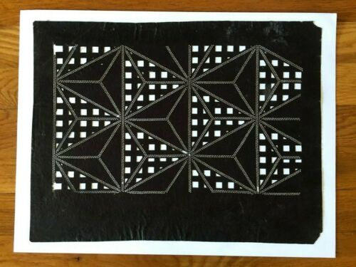 Antique hand cut Japanese Katagami stencil design, graphic geometric c1880-1900