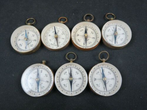 Lot of 7 Vintage Brass Compass Made in Germany