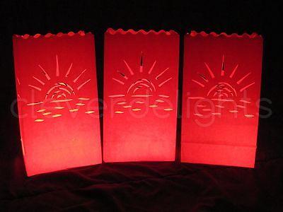 Red Luminary Bags - Sunset Design - Luminaria - Candle Bags - 10 20 30 50 - Luminary Bags