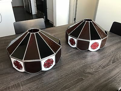 Stained Glass Billiard Light Shade - 2 x FIRE DEPT STAINED GLASS LAMP/ BILLIARD LIGHT SHADE 14