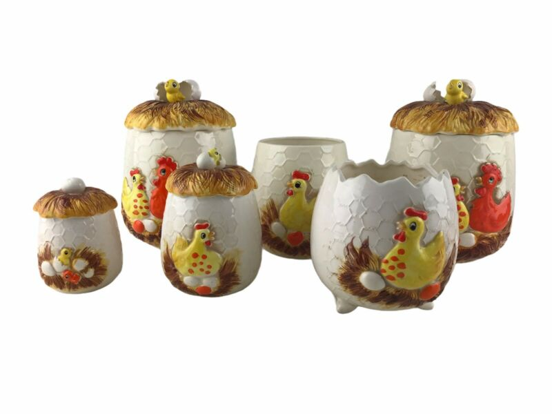 Vintage 1974 Sears Roebuck Chicken Wire Kitchen Food Canister Jar Chick Set Of 6