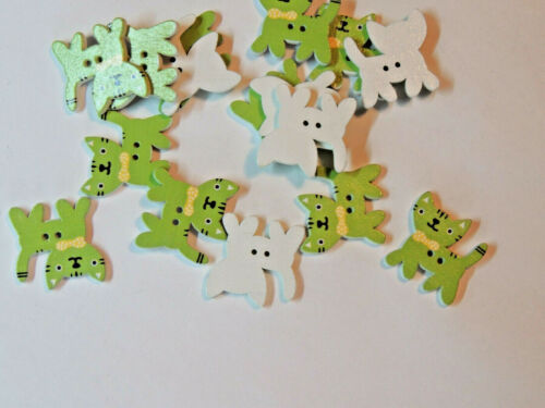 Lime Green Cat 2 Hole Wooden Buttons set of 5 (16762)