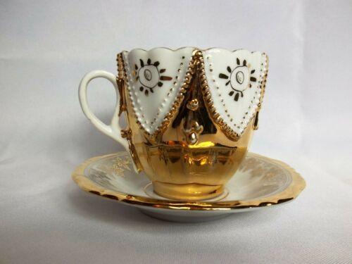 Elegant Gold Vintage Waldershop Bavarian Germany Porcelain Teacup & Saucer