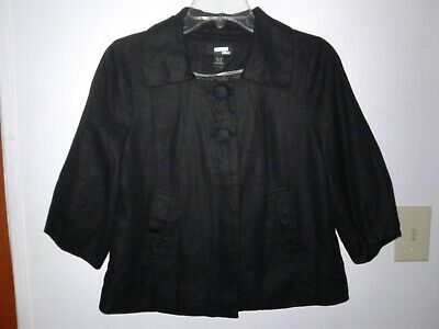 H&M Black 3/4 Sleeve Linen Blend A-Line Blazer Lined size 8 Pockets