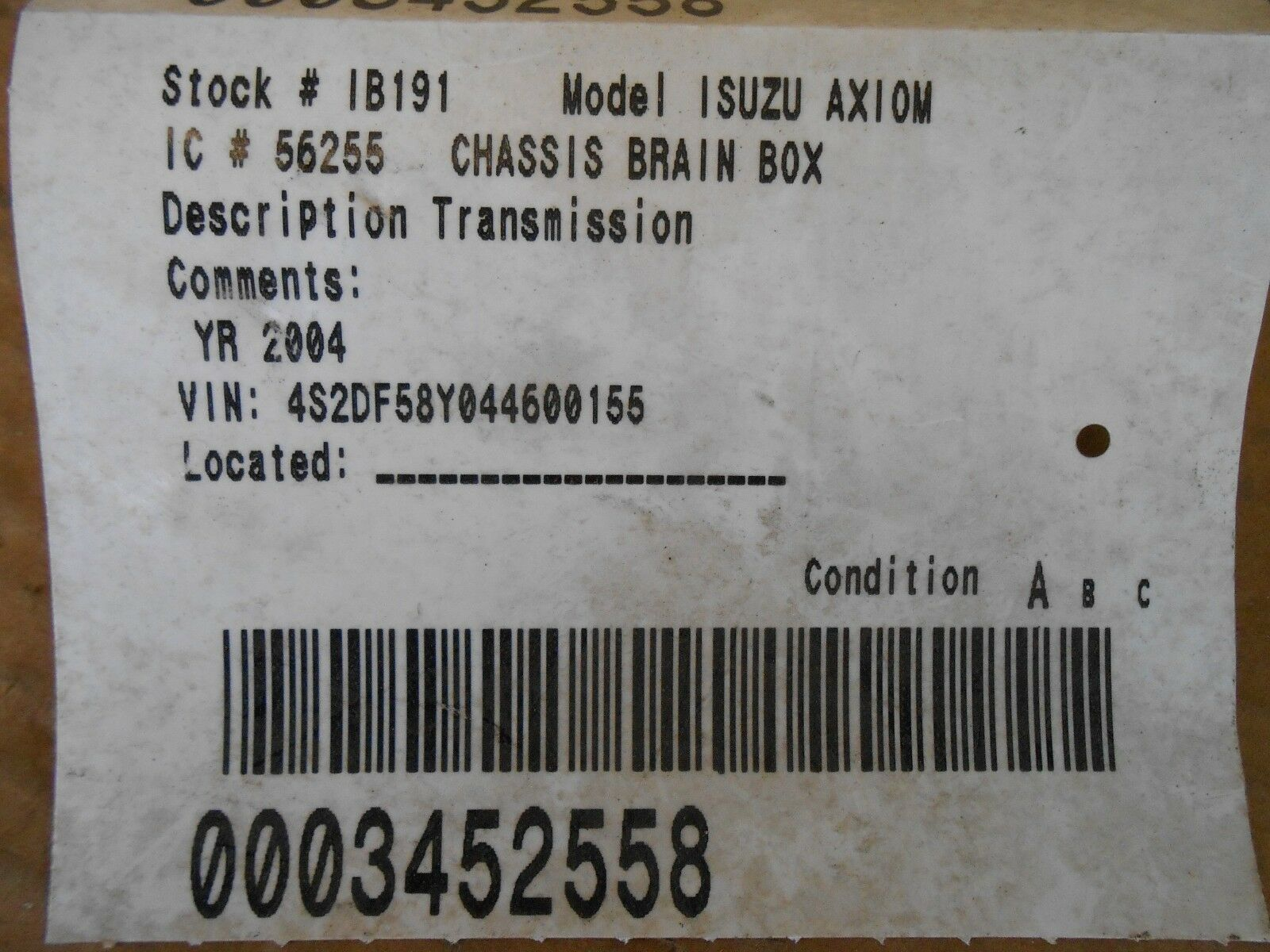 Used Isuzu Computers Chips Cruise Control And Related Parts For 2004 Axiom Fuse Box Location Transmission Module P N 897369 340 0