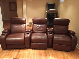 3 leather lazy boy recliners (theatre style)