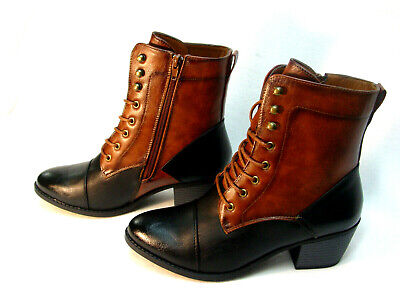 Boots Womens Granny style lace up zipper faux vegan leather sizes 7 to 11 2 (Vogue Boots)