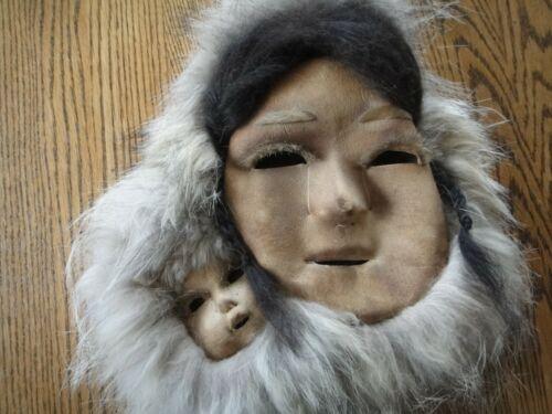 Alaskan Numamiut Eskimo Caribou Double Mask by Justus Mekiana -Mother & Child